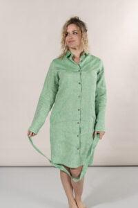 Chemise robe en lin herbes marais